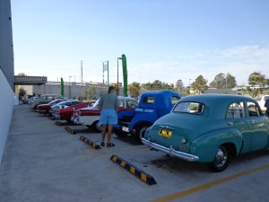 Rear view of old cars.