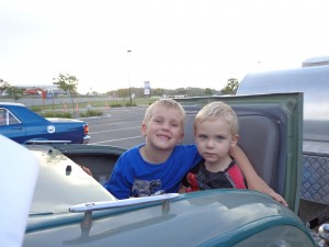 Ben and Jake in the dickie seat of Ron's model A