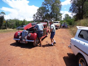 Ralph's car stopped just as it was about to get back on the bitumen road.