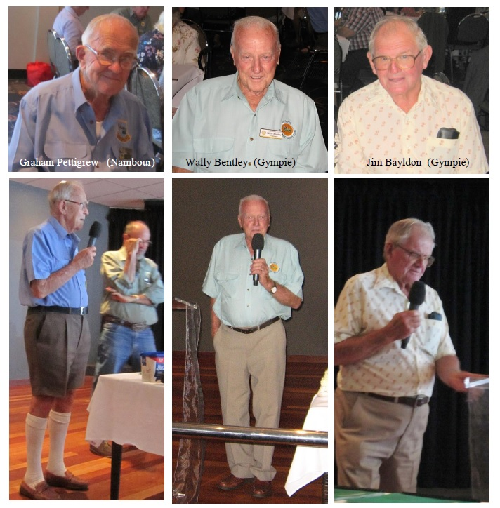 Speeches were made by Graham Pettigrew from Nambour who helped the Gympie club get started. Wally Bentley - a founding member who is still a current club member. Jim Bayldon who joined the club in 2003 and is a current member.